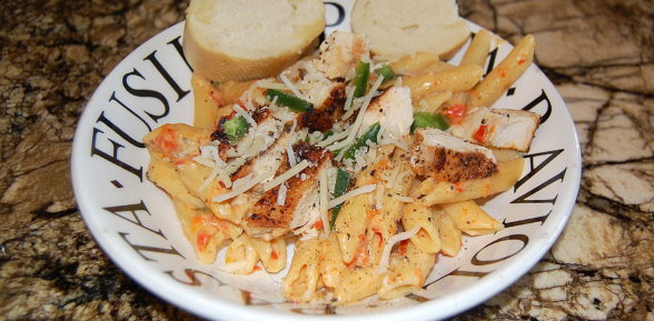 Roasted Red Pepper Skillet Creamy Parmesan Penne Pasta